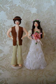 Hippie bride and groom Wedding cake toppers