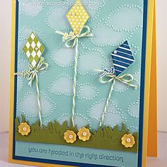 Send Me Soaring; using a Cloud Embossing Folder.