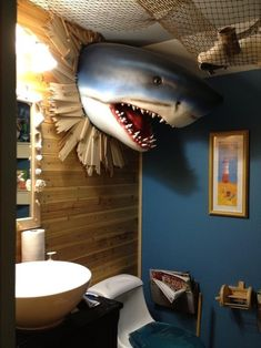 21 Terrifyingly Perfect Gifts For Shark-Loving Kids Make a splash with this bathroom decor. Shark Bathroom, Bathroom Kids, Bathroom Faucets, Bathroom Wall, Nature Bathroom, Boho Bathroom, Kids Bath, Bathroom Cabinets, Modern Bathroom
