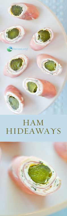 Gherkins wrapped in ham with savoury cream cheese. A quick and easy made-ahead…