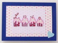 Cupcakes 'Love' cross stitch original handmade card by PosieAndMarmalades on Etsy