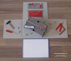 Geschenkbox Überrraschungsbox Explosionsbox Werkzeugkiste Baumarkt Gutschein Geldgeschenk Werkzeug