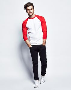 The Idle Man Long Sleeve Raglan- White Red at The Idle Man
