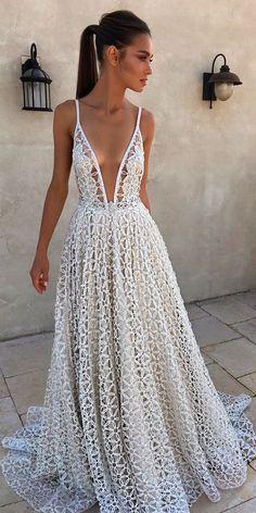 30 Beautiful Wedding Dresses By Top USA Designers ❤ beautiful wedding dresses lace spaghetti straps v neckline a line berta ❤ See more: http://www.weddingforward.com/beautiful-wedding-dresses/ #weddingforward #wedding #bride