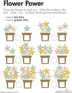 Worksheets: Comparing Flowers: Less Than and Greater Than