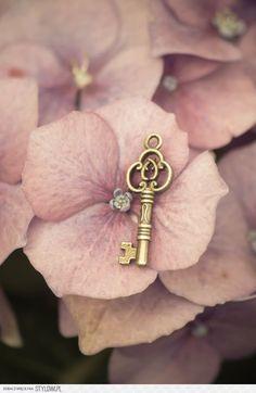Flower key ~ by NRichey ~ Colors: Pink, Brown - Dusty Rose, Gold Antique Keys, Vintage Keys, Dusty Pink, Dusty Rose, Hortensia Hydrangea, Hydrangeas, Under Lock And Key, Old Keys, Photo D Art