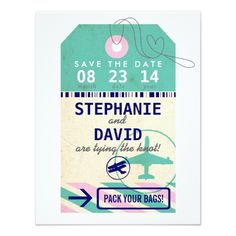 Destination Wedding Invitations Luggage Tag Vintage Destination Wedding Save Date Card