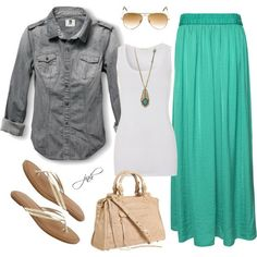 the only way i would do this trend of the long maxi skirt....with aviators and a jean shirt ;) YES!