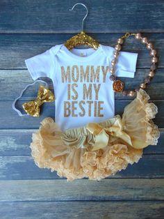 Mommy Is My Bestie Bodysuit Gold Glitter by AnnMarieAvenue