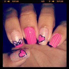 Diseño de uñas lazo & corazon #nails #uñas #diseñodeuñas #COSTARICA #lazo #corazon