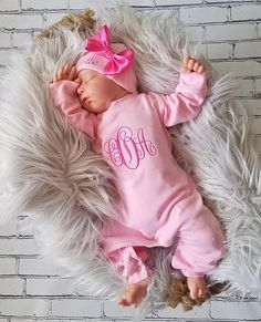 Baby Girl Coming Home Outfit Newborn Baby Girl Personalized Pink Sleeper Baby Girl Shower Gift - colding for kids - Going Home Outfit, Girls Coming Home Outfit, Baby Girl Names, Baby Girl Gifts, Baby Girls, Pretty In Pink, Unusual Baby Names, Brooklyn Baby, Girly