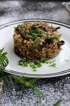 RECEPT: Pravý houbový kuba z krup, česneku a bylinek - BezHladovění. Czech Recipes, Ethnic Recipes, Risotto, Rice, Beef, Cooking, Meat, Kitchen