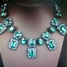 Luxury Crystal Necklace/ Dark Green