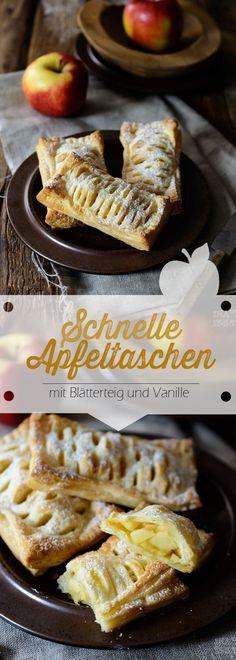Rezept für schnelle Apfeltaschen mit Blätterteig und Vanille