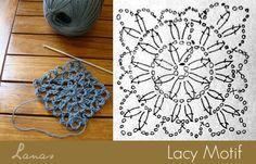 Lacy Motif Crochet Chart #freecrochetpattern   Lanas de Ana