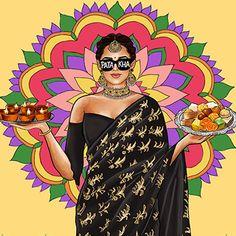 Modern Indian Art, Indian Illustration, Culture Art, Fashion Illustration Dresses, Art Corner, India Art, Indian Art Paintings, Applis Photo, Digital Art Girl