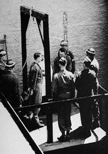 SS Obersturmbannführer Martin Gottfried Weiss preparing to be hanged at Landsberg prison after being convicted of war crimes by the Allies. He was the 7th Commandant of Dachau.