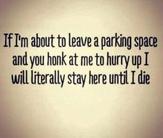If I'm about to leave a parking space and you honk at me to hurry up, I will literally stay here until I die. Driving Humor, Senior Humor, Funny Memes, Jokes, Parking Space, Road Rage, Totally Me, Funny Thoughts, Sarcastic Quotes
