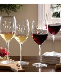 Engraved wine glasses - perfect hostess gift