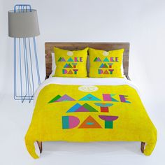 Nick Nelson Make My Day Duvet Cover #bedding #sun #yellow