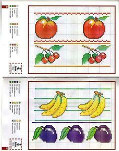 Schema punto croce Bordi-frutta