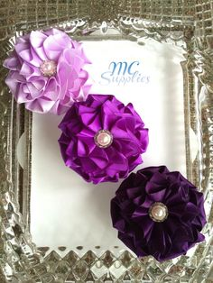 Set of 3 flowers appliquesatin flower by MCsupplies on Etsy