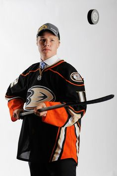 Hampus Lindholm, drafted sixth overall by the Anaheim Ducks, poses for ...