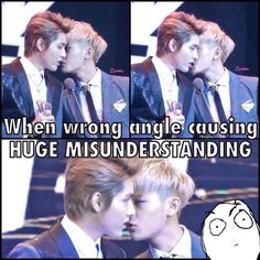 lololol!! XD Kris and Tao, EXO ..the wrong angle makes it look like a kiss XD
