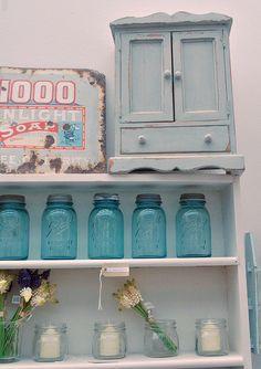 ball jars - also love the little blue cupboard