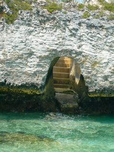 Water access, staircase carved thru the stone - Turks and Caicos