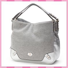 """Juicy Couture Gray Sweatshirt Studded Tote HPNWT Juicy Couture gray w/silver trim sweatshirt tote will have you trend-setting ready for any season and certainly any occasion.  *PRODUCT FEATURES: Sweatshirt fabric construction Goldtone Studded hardware Triple-entry design  *PRODUCT DETAILS"""" 12''H x 15''W x 5''D Drop down length: 6'' Shoulder straps Magnetic snaps & zipper closures Interior: zip pocket & 2 slip pockets Fabric/faux leather   *Bundle Discounts * No Trades * Smoke free Juicy…"""