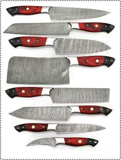 •Stylish Chef/Kitchen Knife Set that will Suit Your Kitchen •Excellent quality Razor Sharp blades •Rose Wood handle with excellent feel •Exquisite workmanship with extreme Durability Damascus Steel Kitchen Knives, Damascus Chef Knives, Damascus Knife, Damascus Blade, Custom Kitchen Knives, Best Kitchen Knives, Custom Knives, Chef Knife Set, Knife Sets