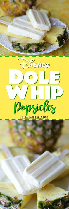 Enjoy the delicious tropical flavor of a famous Dole Whip at home with these Disney Dole Whip Popsicles. This dessert / snack recipe is the perfect summer treat. (Summer Bake With Kids) Brownie Desserts, Oreo Dessert, Mini Desserts, Coconut Dessert, Low Carb Dessert, Frozen Desserts, Frozen Treats, Delicious Desserts, Dessert Recipes
