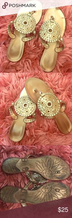 JACK ROGERS JELLY SANDALS ✨ 100% AUTHENTIC Gold Jack Rogers jelly sandals size 7 (I'm normally a 6/6.6 but these fit perfectly). Used but still potentially have a lot of life in them! Lost bottom of thong that kept it together, but if you push it in the hole you can still wear them for a while, but it'll eventually come out. Super glue should do the trick. Ordered a new pair so I'm trying to get rid of these! Offers accepted! Jack Rogers Shoes Sandals