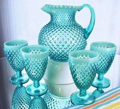 Robin's Egg Blue Opalescent Hobnail 5Pc Water Set. Stunning Fenton Glass