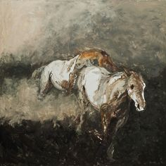 Two Running Horses, 4ft by 4ft, oil on canvas