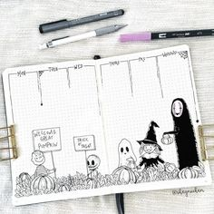 25 Scary Halloween Bullet Journal Page Ideas Happy Halloween! Here is a list of 25 Halloween bullet journal page ideas to help get you in the mood for the best, most scare Halloween yet! Bullet Journal Halloween, Bullet Journal Notebook, Bullet Journal Spread, Bullet Journal Layout, Bullet Journal Inspiration, Spooky Halloween, Happy Halloween Video, Halloween Doodle, Halloween Drawings