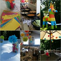 Fiesta themed co-ed bridal shower. Taco bar. Paper pompom flowers everywhere. Pinata filled with airline booze bottles. Margaritas and sangria. Activities included a know the bride and groom quiz and Dress the Couple - boys dressed bride, girls dressed groom, used black and white plastic table cloths, streamers, packing tape with some Mexican accessories like mustaches and lace fans. #coedshower #bridalshower #fiesta #margarita