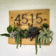 Hanging Wall Planters, Diy Planters, Succulent Planters, Diy Wood Planter Box, Planter Boxes, Diy Porch, Succulents Diy, House Numbers, Porch Decorating
