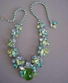 """WEISS pastel blue and green rhinestones 14-15"""" necklace"""