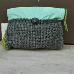 Small hand bag. Handmade in crochet and fabric.