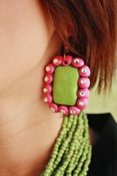 Presidio Lime and Hot Pink Square Earrings – Giddy Up Glamour Boutique