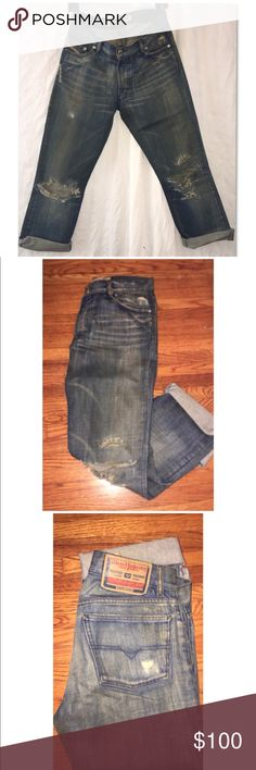 """NEW Diesel Distressed Boyfriend Jean, Size 30 These Diesel distressed, dirty denim Boyfriend jeans are everything you'd expect from Diesel jeans!  They are constructed of heavy, distressed denim with a unique """"dirty"""" wash and features rips that get better with time.   Has an oversized, Boyfriend fit, so for these jeans to give the slouchy look these will fit sizes 3-6 perfectly.   In new condition.   Authentic designer Diesel jeans are a waist 30, 22 cuffed inseam, 22 inch across hips, 8…"""