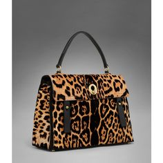 Large YSL Muse Two in Natural Leopard Printed Calfskin ❤ liked on Polyvore
