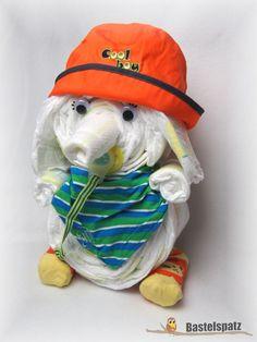 Windeltier Elefant, Diaper Cake, Baby Shower, Babyshower, Windeltorte, Windelfigur, Windeltier, Geburtsgeschenk, Diaper Elephant