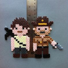 Zombie Killing Sheriff Perler Bead Character Magnet by HarmonArt2