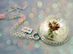 NEW Dandelion necklace Resin make a wish glass globe by Neraidas