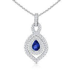 Angara Pear Drop Tanzanite Diamond Halo Vintage Pendant in White Gold R3XuK6Sf4