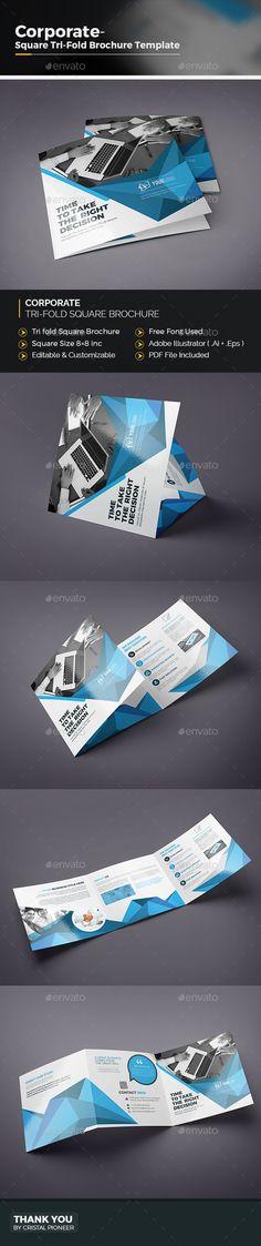 Abstract Square Tri-fold Brochure Template Vector EPS, AI Illustrator