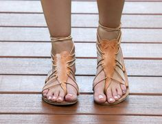 FREE SHIPPING-Hydra Natural- A Greek Inspired handmade all leather sandal with leather laces to tie around your ankle